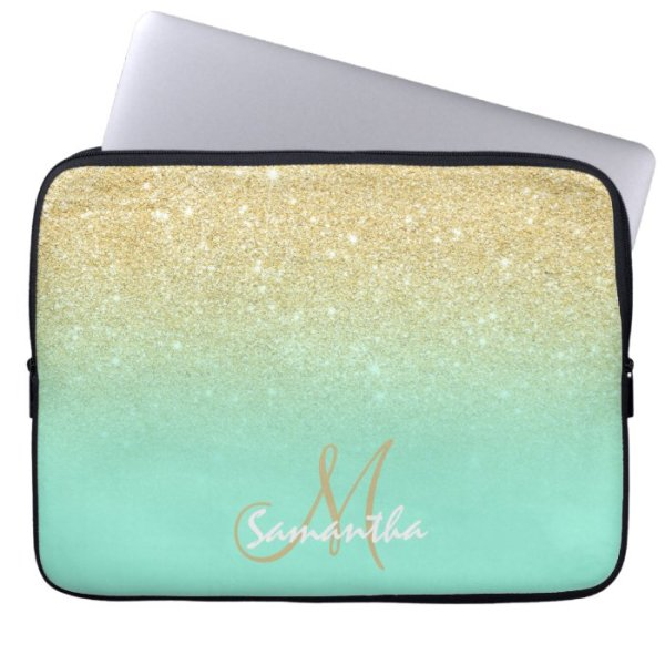 Modern gold ombre mint green block personalized computer