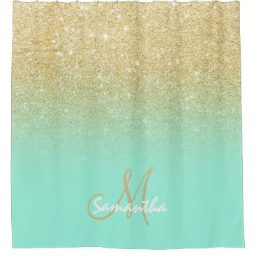 Modern gold ombre mint green block personalized shower curtain
