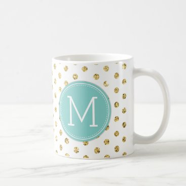 Modern Gold Polka-dots with Blue monogram Coffee Mug