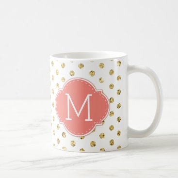 Modern Gold Polka-dots with Coral monogram Coffee Mug