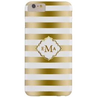 Modern Gold Stripes Geometric Pattern Barely There iPhone 6 Plus Case