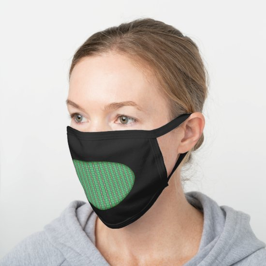 Modern Green Bamboo Abstract Pattern Black Cotton Face Mask