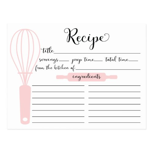 Modern Hand Lettered Pink Whisk Recipe Card