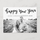 Modern Happy New Year Typography Photo Holiday Postcard