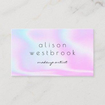 Modern holographic makeup artist pink rainbow business card
