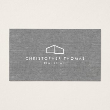 Modern Home Logo on Linen for Real Estate, Realtor Business Card