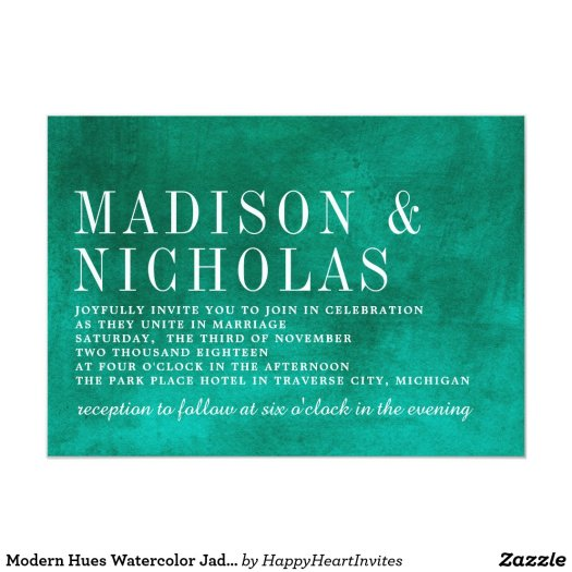 Modern Hues Watercolor Jade Green Wedding Card