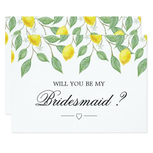 Modern Lemon Boho Summer Bridesmaid Invitation