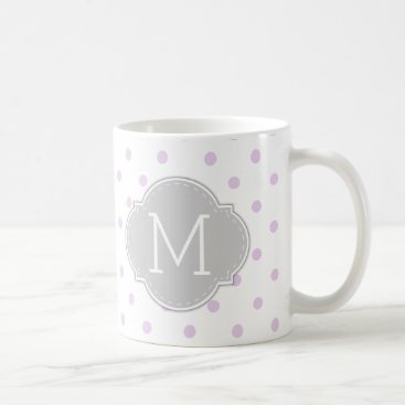 Modern Lilac Purple Polka-dots with monogram Coffee Mug