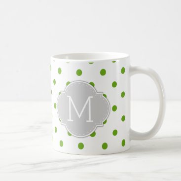 Modern Lime Green Polka-dots with monogram Coffee Mug