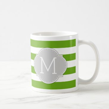 Modern Lime Green Stripes with light grey monogram Coffee Mug