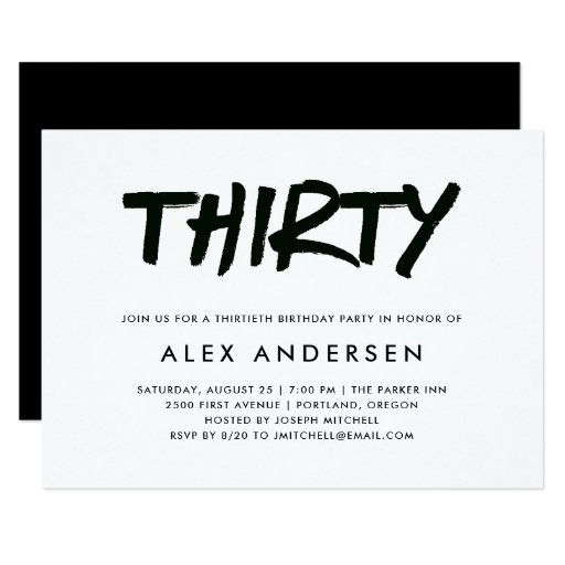Modern Marker | Black and White Thirtieth Birthday Invitation