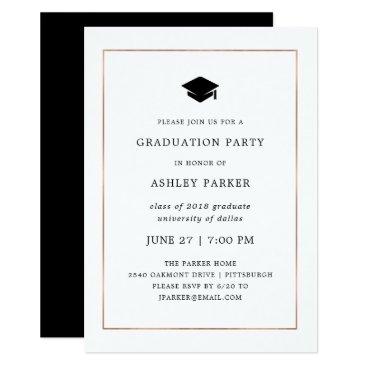Modern Minimal | Faux Rose Gold Border Grad Party Invitation