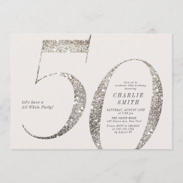 Modern minimalist all white party 50th birthday invitation