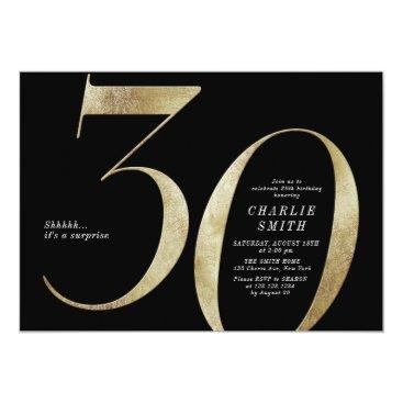 Modern minimalist black and gold 30th birthday invitation