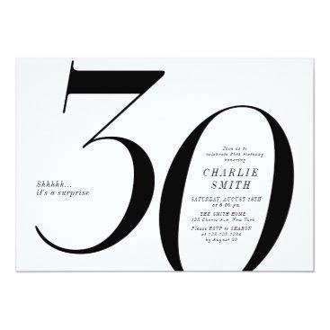 Modern minimalist black and white 30th birthday invitation