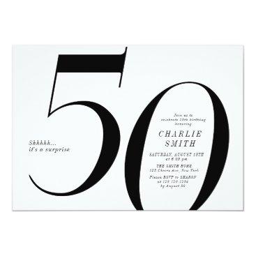 Modern minimalist black and white 50th birthday invitation