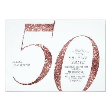Modern minimalist rose gold glitter 50th birthday invitation