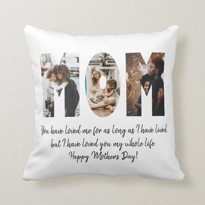 modern mom photo collage happy mother s day quote throw pillow zazzle com