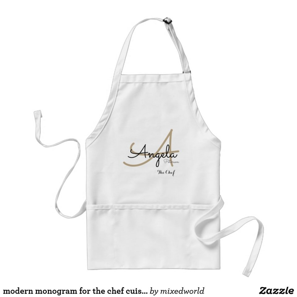 modern monogram for the chef cuisine  personalized adult apron