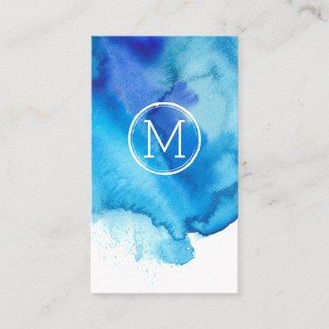 Modern Ocean Beachy Blue Watercolor Monogram Business Card