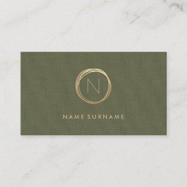 Modern Olive Green Linen Elegant Gold Monogram Business Card