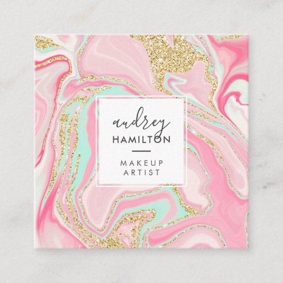 Modern pink marble chic gold elegant makeup artist square business card