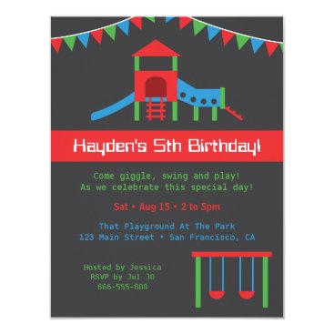 Modern Playground Kids Birthday Party Custom Card