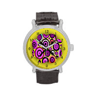 Modern Retro Circles Pattern Watch