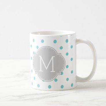 Modern Robin's Egg Blue Polka-dots with monogram Coffee Mug