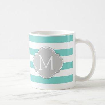 Modern Robin's Egg Blue Stripes with monogram Coffee Mug