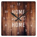 Modern rustic dark barn wood Home sweet home Square Wall Clock