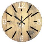 Modern Rustic Wood Print & Black Marks Large Clock