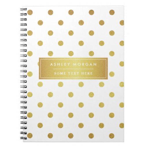 Modern Stylish Gold Glitter Polka Dots Spiral Notebook