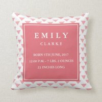 Modern Triangle Baby Birth Announcement Pillow | Zazzle