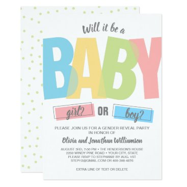 Modern Typography Gender Reveal Baby Shower Party Card