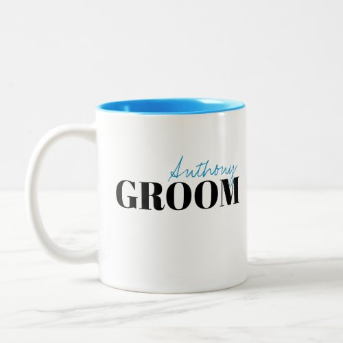 Modern Typography Simple Personalized Groom Mug