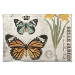 Modern vintage french butterflies cloth placemat