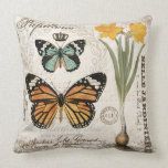 Modern vintage french butterflies throw pillow