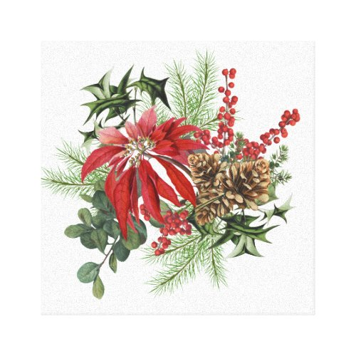 modern vintage holiday poinsettia floral canvas print