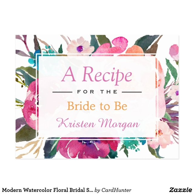 Modern Watercolor Floral Bridal Shower Recipe