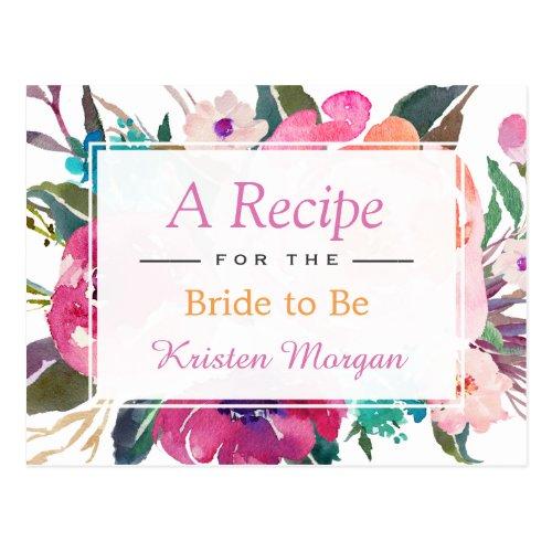 Modern Watercolor Floral Bridal Shower Recipe Postcard