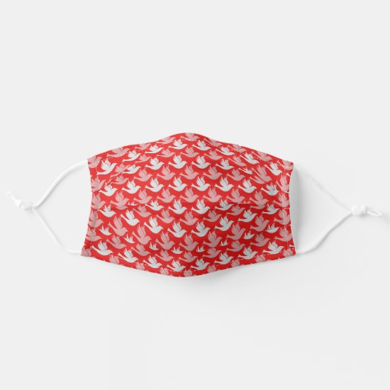 Modern White Dove Graphic Pattern on Red Cloth Face Mask