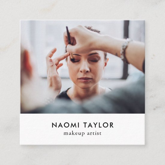 Modern white makeup artist photo elegant simple square business card