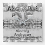 Mom and Dad 25th Silver Wedding Anniversary 2019 Square Wall Clock