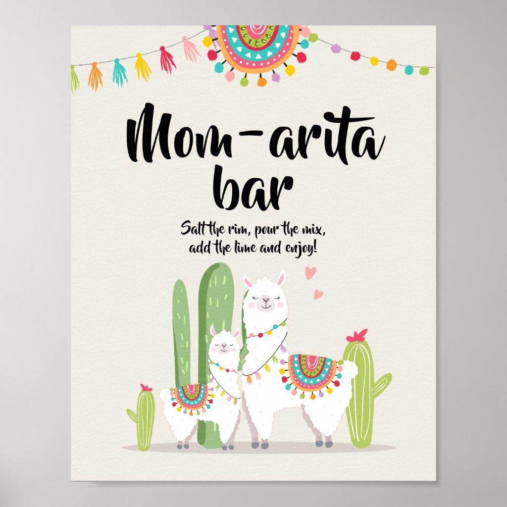 Mom-arita Margarita Bar Fiesta Llama Shower Sign