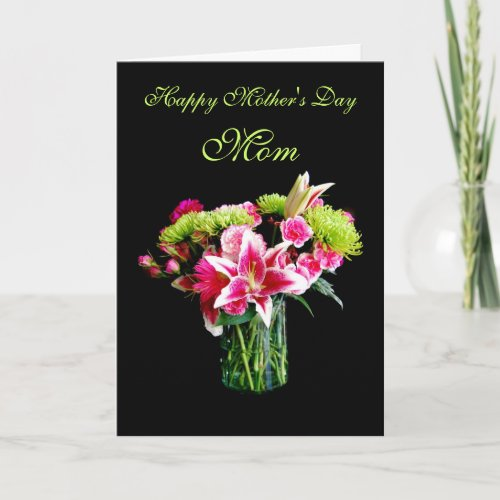 Mom, Happy Mother's Day, Stargazer Lily Bouquet Greeting Card