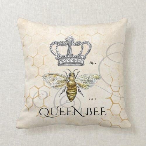Mom Queen Bee Monogram Throw Pillow