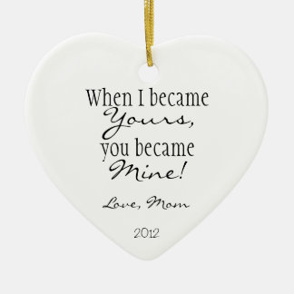 Mom quote Double-Sided heart ceramic christmas ornament