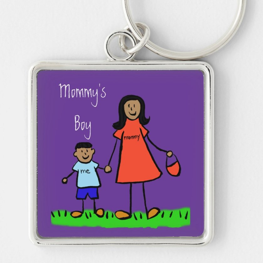 Mommy's Boy Mother and Son Custom Family Keychain